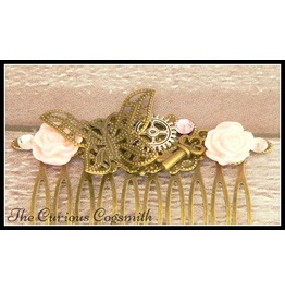 Pink And Bronze Butterfly Garden Hair Comb