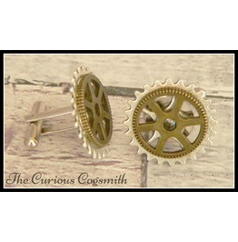 Steampunk Cuff Link Set Bronze Cog On Silver Plated Cog