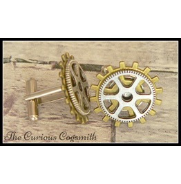 Steampunk Cuff Link Set With Silver Plated Cog On Bronze Cog