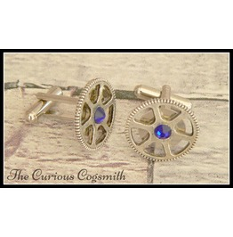 Steampunk Cuff Link Set With Blue Rhinestones