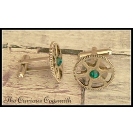 Steampunk Cuff Link Set With Green Rhinestones