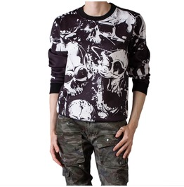 Skull Print Black And White Sweatshirt