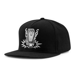 Cruise Coffin Logo Snapback Hat: Casket One Wheel Skateboarding Skull Spark