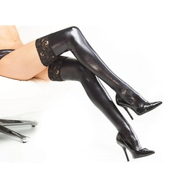 Sexy Fetish Faux Leather And Lace Thigh High Stockings
