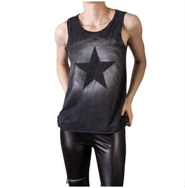 Goth Style Cotton Tank Top With Star