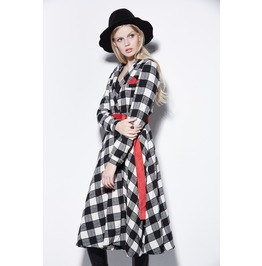 Retro Black White Checkered Single Breasted Long Coat