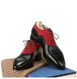 Handmade men two tone red and black formal shoes mens oxford dress shoes dress shoes