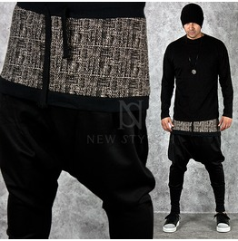 Classic Checkered Pattern Contrast Black Baggy Sweatpants 197