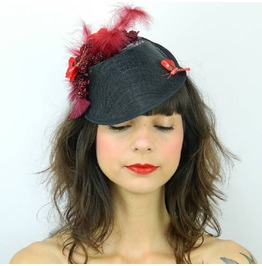 Pillbox Hat Fascinator Headpiece With Raspberries, Butterflies And Feathers