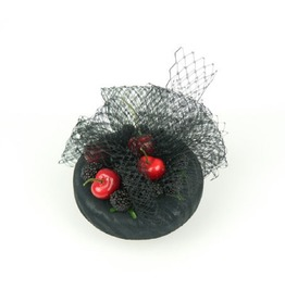 Pillbox Fascinator Hat With Cherries, Raspberries, Zebra Patterned And Veil