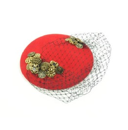 Pillbox Hat Fascinator Headpiece In Red With Vintage Buttons And Veil