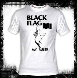Black Flag My Rules White T Shirt