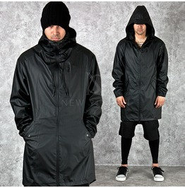 Coated Water Proof Black Long Hood Jacket 220