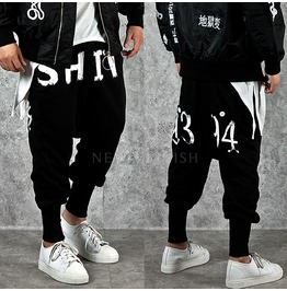 Numbering & Lettering Accent Black Baggy Sweatpants 199