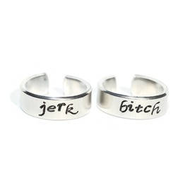 Bitch And Jerk Adjustable Aluminum Metal Stamped Ring Pair
