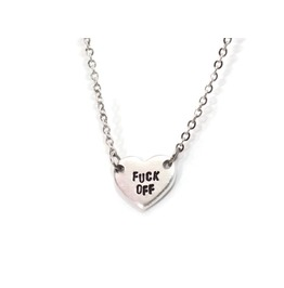 Fuck Off Rude Heart Necklace Hypoallergenic Stainless Steel And Aluminum