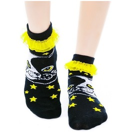 Too Fast Ying Yang Cat & Stars Yellow Ruffle Socks