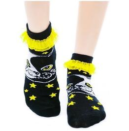 Too Fast Ying Yang Cat & Stars Yellow Ruffle Socks