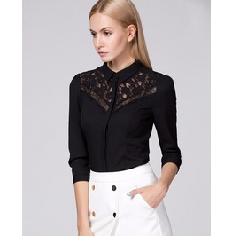 Three Quarter Sleeves Black Lace Top