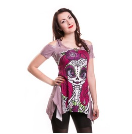 Women New Skeleton Lady Pink Lace Top
