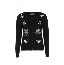 Women Black Gothic Illuminati Occult Symbols Sweater
