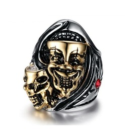 Evil Clown Mask Stainless Steel Gold Plated Ring