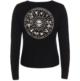 Women Astrology Skelescope Cardigan Black Sweater