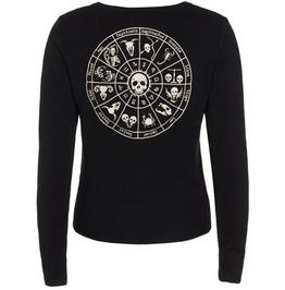 Women Astrology Skelescope Cardigan Black Sweater