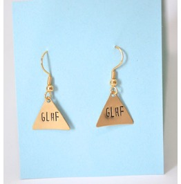 Go Away Brass Metal Stamped Earrings
