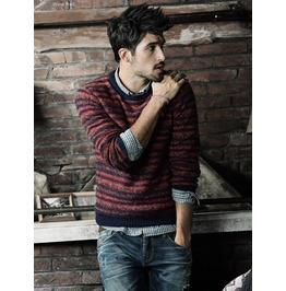 Men's Knitted O Neck Multi Color Warm Sweater