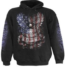Men New Black Liberty Usa Eagle Flag Hoody