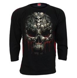 New Black Death Bones Red Ripped Cross Longsleeve T Shirt