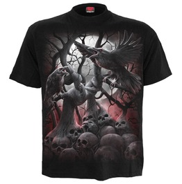 New Black Crow Death Forest Skull T Shirt For Men