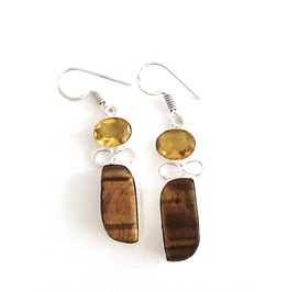Wild! Tigers Eye, Lemon Citrine Earrings 50mm 925