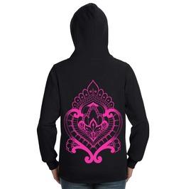 Pink Mehndi Heart Lightweight Zip Hoodie