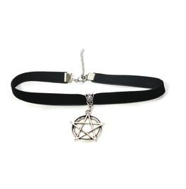 Velvet Ribbon Choker With Pentagram Charm