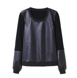 Leather Sweatshirt Black