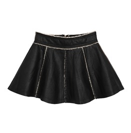 Faux Leather Skirt With Fur Lining