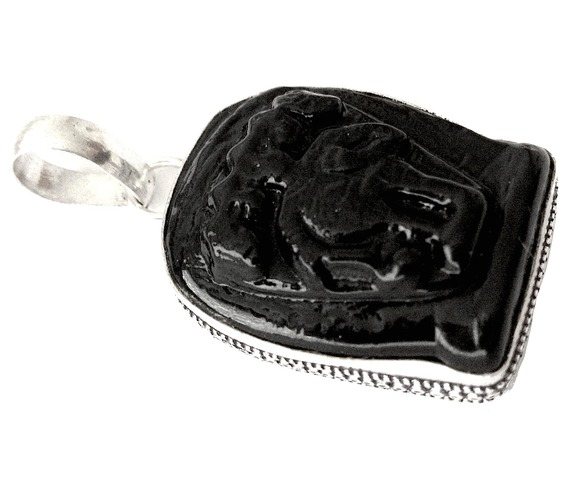 Striking! 925 Silver Pendant Carved Onyx 46mm_Bands_2.jpg
