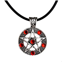 Antique Silver Pentacle Pendant Necklace With Red Gemstones