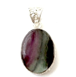 Striking! 925 Silver Pendant Oval Rainbow Fluorite Gem