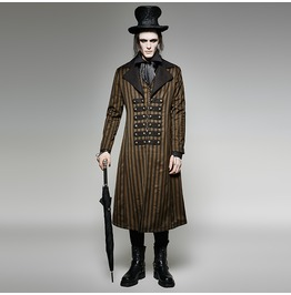 Punk Rave Steampunk Men's Classical Stripes Overcoat Y 717