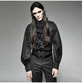 Punk Rave Gothic Style Black Chiffon Double Falbala Men's Shirts Y 710