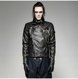 Punk Rave Steampunk Men's Faux Leather Short Jacket With Gear Brooch Y 701