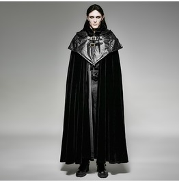 Punk Rave Gothic Men's Victorian Style Hooded Cape Overcoat Y 693