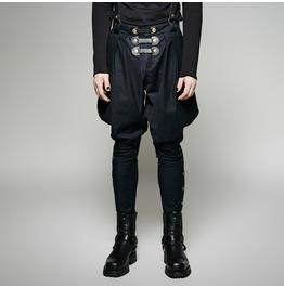 Punk Rave Men's Black Baggy Pants With Shoulder Harness K 269