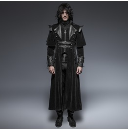 Punk Rave Men's Black Gothic Ghost Clock Overcoat Y 636