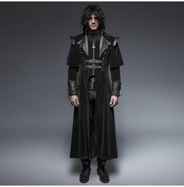Punk Rave Men's Black Gothic Ghost Clock Overcoat Y 636