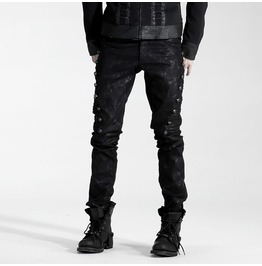 Punk Rave Men's Black Rivets Pants K 136