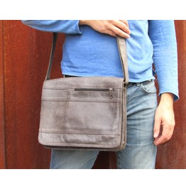 One Leaf Leather Satchel Steampunk Bag Urban Grey